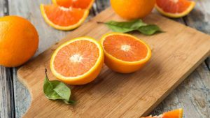 orange slices on a wooden table